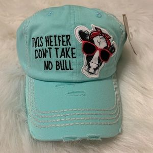 This Heifer Don't Take No Bull aqua blue hat